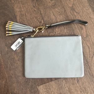 LEATHER Fossil Wristlet with Leather Tassel